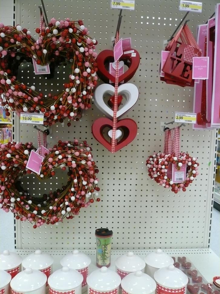 Target starts to display valentines decorations the day after winter break.