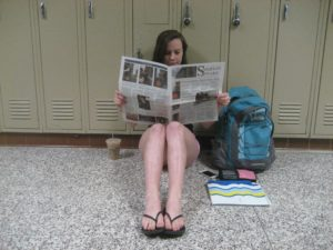 Junior Casey Schultz catches up on the local news in a recent edition of The Spartan Speaks.