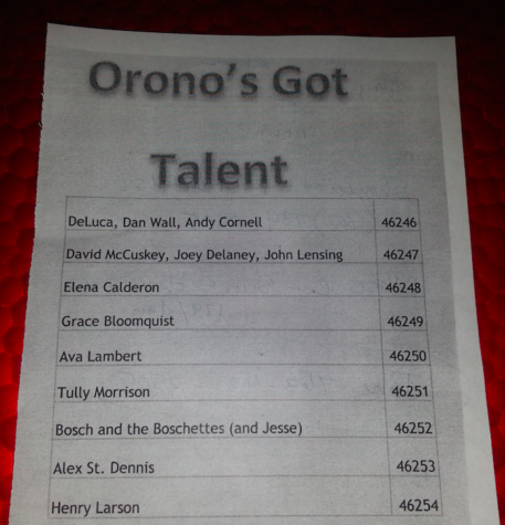 The audience was able to vote on their favorite acts by texting in to the numbers found on the Orono's Got Talent program.
