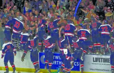 The boys hockey team jumps into their excited crowd after they win the section championship game.