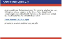 Lockdown at all Orono Schools has ended