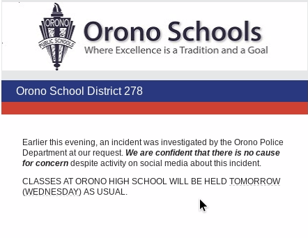 OHS resolves social media scare, unrelated to lockdown