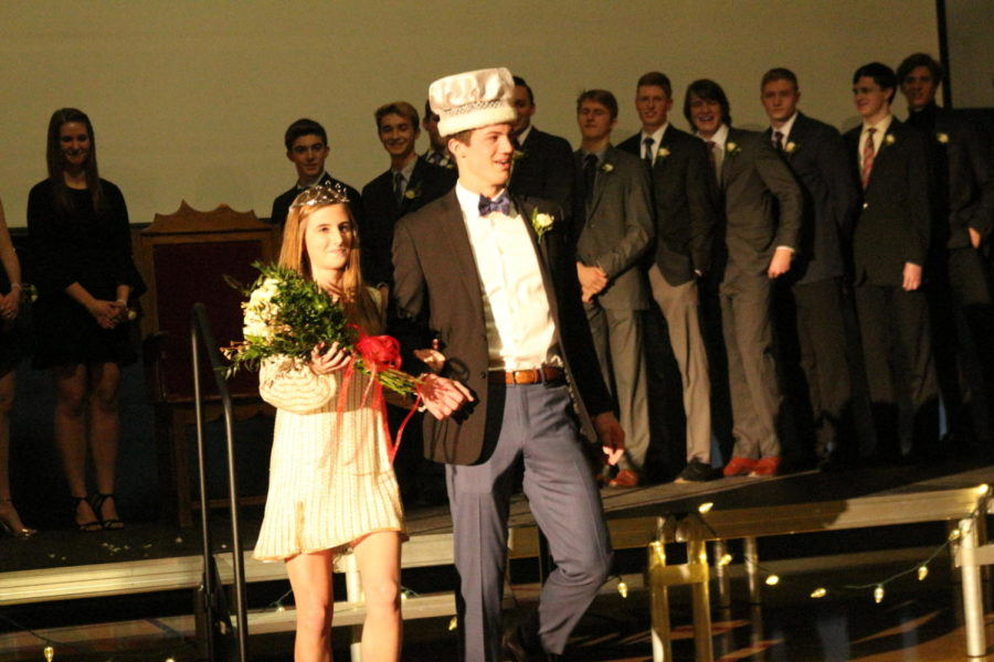 The winterfest King, Jimmy Buck, and Queen, Vivian Rohrer, begin the royal stroll.