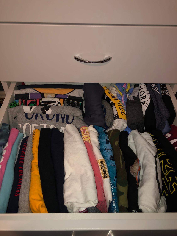 Clothing folded according to the KonMari method, made popular through Kondo's Netlfix show.