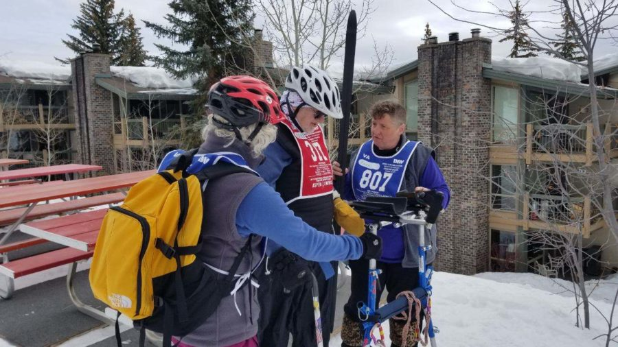Veteran+David+Kolb+is+getting+set+up+to+go+cross+country+ski+for+the+day+with+his+instructors+at+the+Winter+Sports+Clinic.%0A