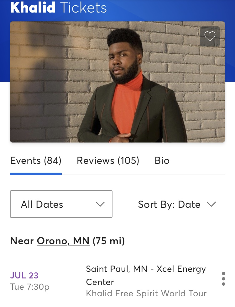 The Ticketmaster page for purchasing Khalid tickets