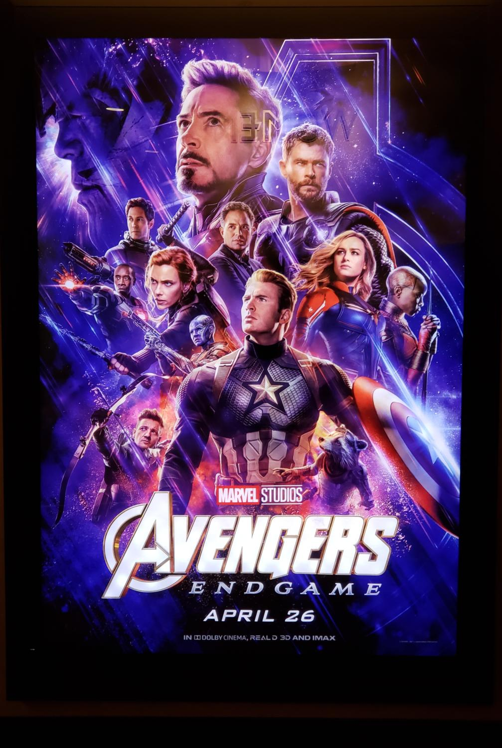 Movie poster of Avengers: Endgame at the movie theater.