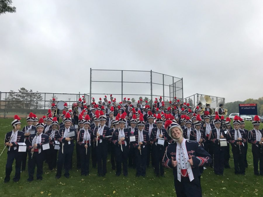 Orono+bands+are+dressed+in+marching+band+uniforms.
