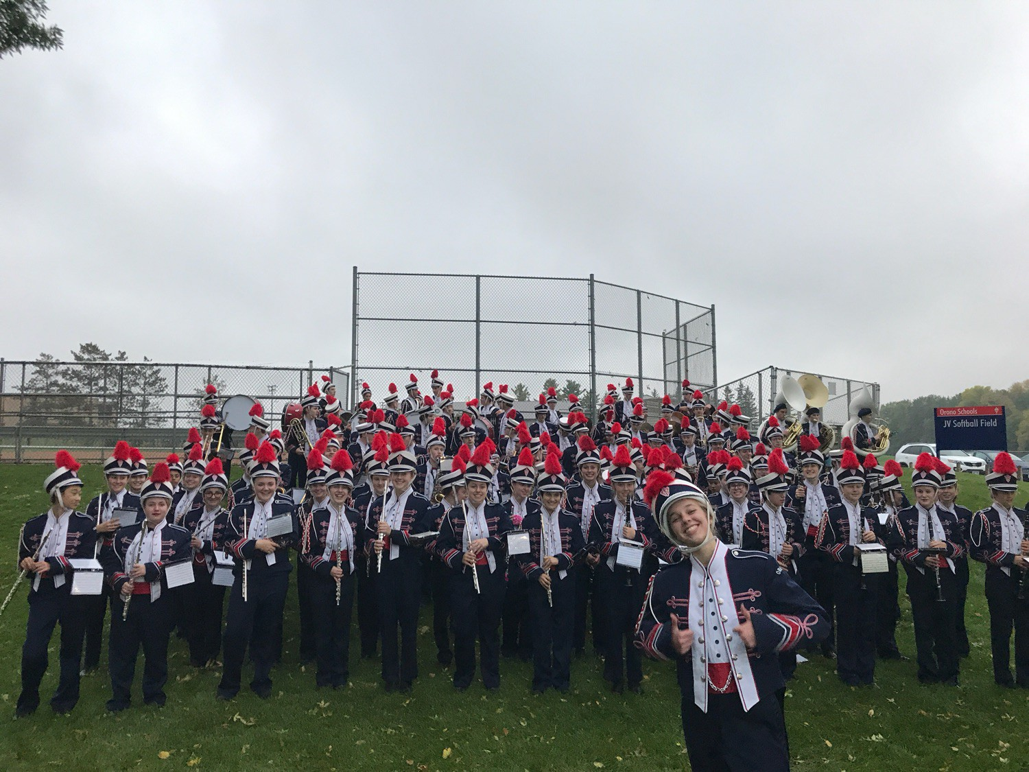 Orono bands are dressed in marching band uniforms.