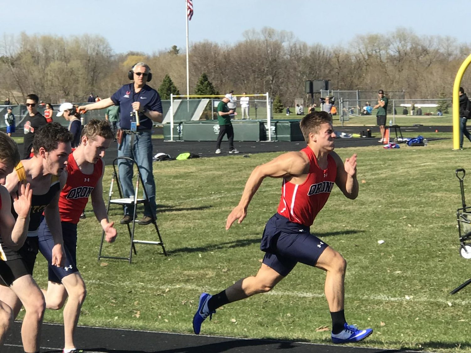 Devin's 100m dash is another one of his strong events. In this photo he takes off in front of his competition.