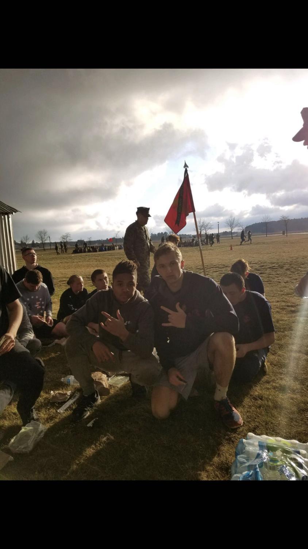 Josh Greenagel and his friend posing at Marine training at Camp Ripley