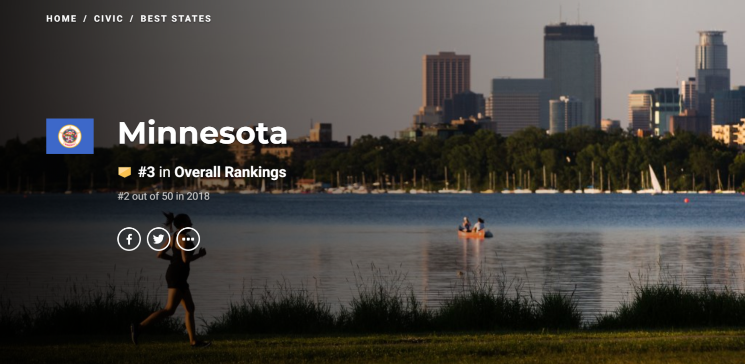 US News and World Report's website displays Minnesota's ranking.