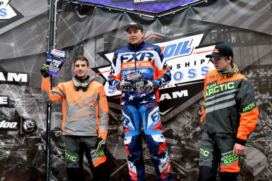 Taylor+Cole+on+the+first+place+podium+at+the+Pro+Lite+Amsoil+Championship+Snocross+Race.
