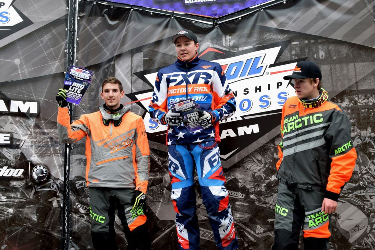 Taylor Cole on the first place podium at the Pro Lite Amsoil Championship Snocross Race.