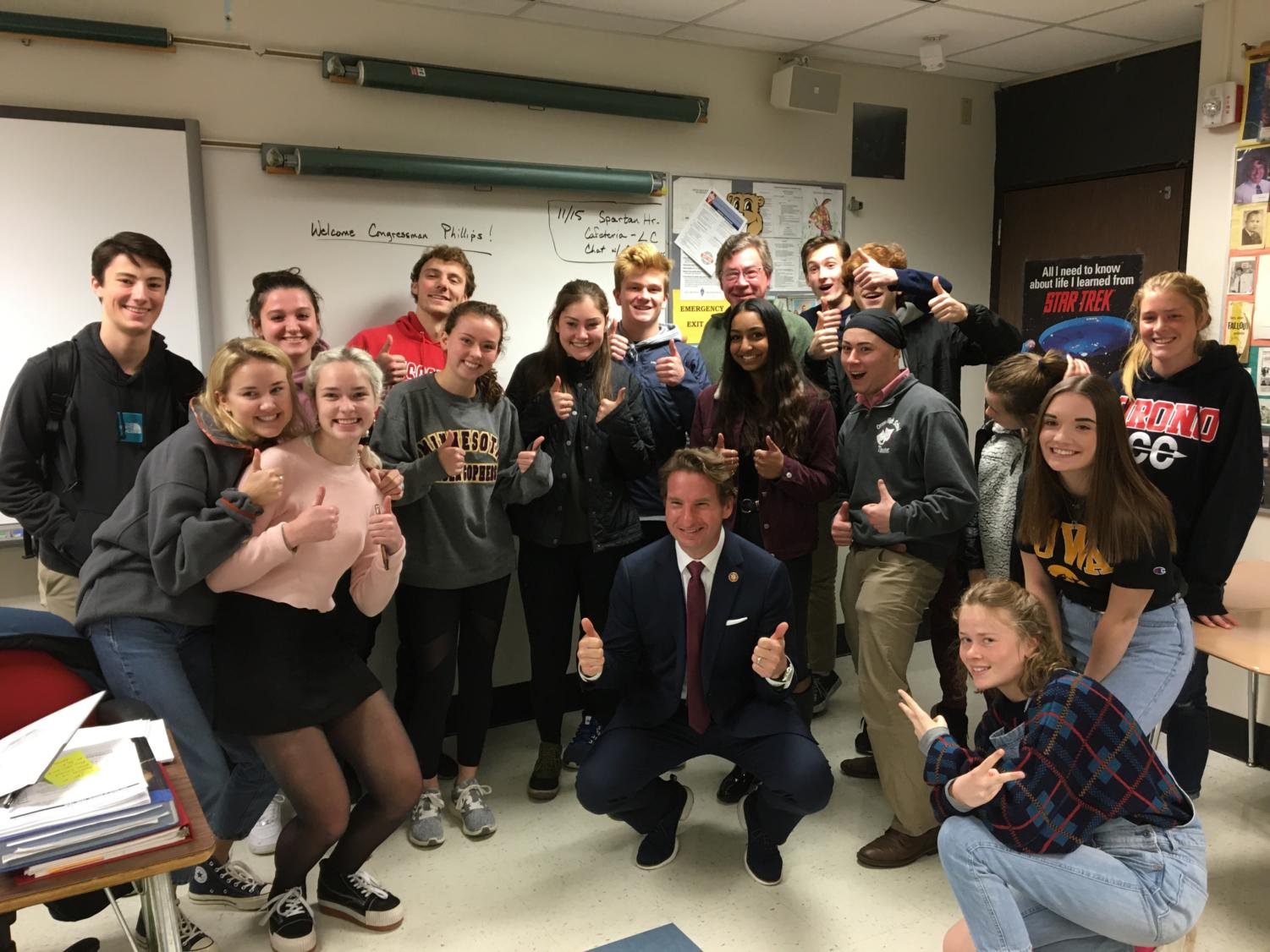Mr. Herring's University of Minnesota Honors Political Science class welcomes Dean Phillips to their class.