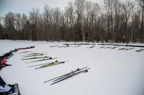 Nordic Skis laid out for the upcoming Ski-a-thon