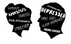 Two silhouettes of faces with text inside them show issues and struggles common among teens and young adults.