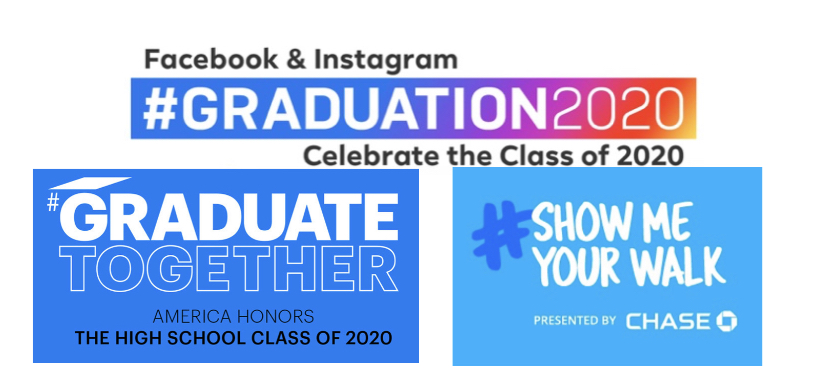 Several of the campaign images for online graduation celebration live streams that were held to celebrate graduates.