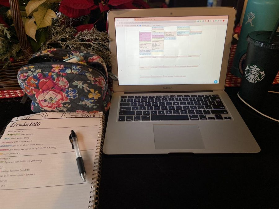 A student's distance learning set-up.