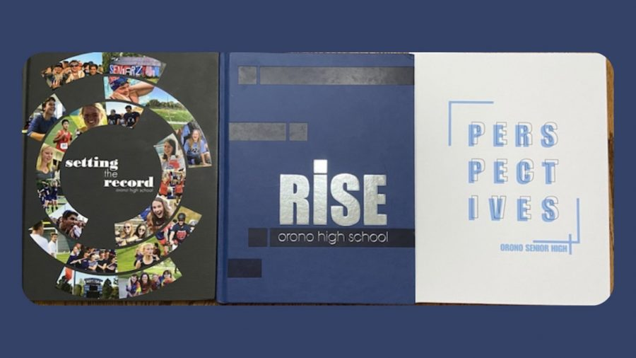 2018, 2019, and 2020 yearbooks and their creative designs made by the students.