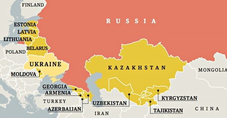 A map of the countries that separated from the Soviet Union