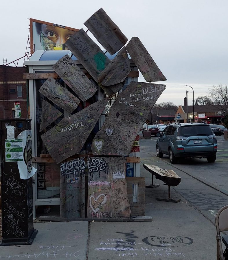 On the edge of the square, what had once been a bus stop has been converted to another memorial devoted to George Floyd and those like him who lost their lives to senseless violence.