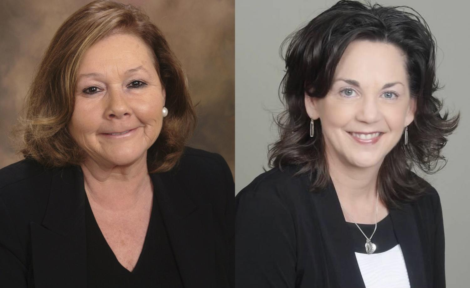 Outgoing superintendent Dr. Karen Orcutt (left) and incoming superintendent Dr. Kristi Flesher (right).