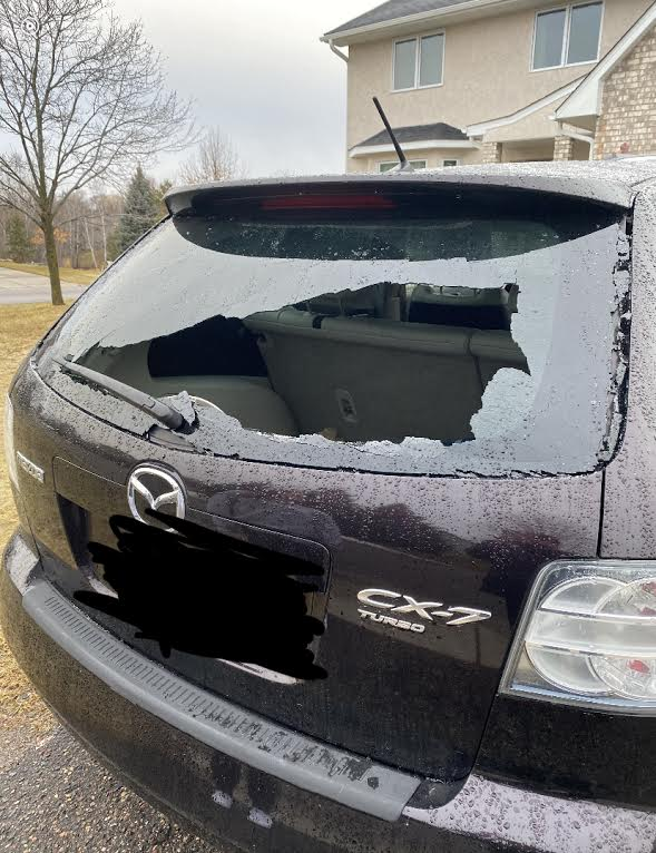 Mikayla Burns's broken car window. Picture was taken shortly after the broken window was discovered.